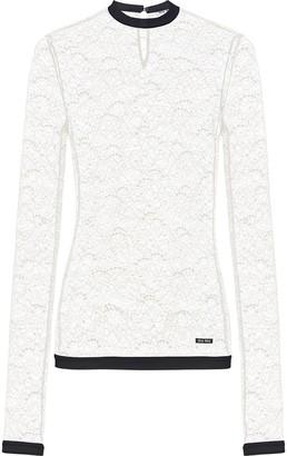 Miu Miu Floral Lace Sheer Long-Sleeve Top