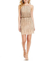 Gianni Bini Isla Halter Neck Beaded Blouson Dress