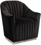 Abbyson Living Fletcher Channel Tufted Chair w/ Stainless Base, Black