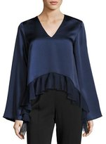 Elizabeth and James Heath Long-Sleeve Satin Ruffled Top, Indigo