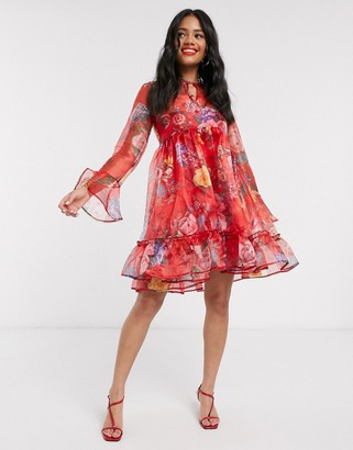 John Zack organza balloon sleeve mini smock dress in red floral