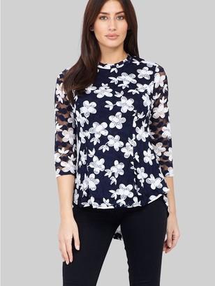 M&Co Izabel floral peplum lace blouse