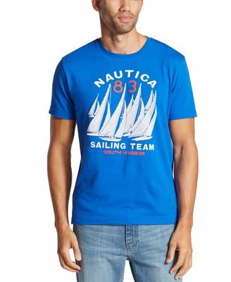Nautica Men's Short Sleeve Crew Neck Sail Boat 100% Cotton T-Shirt Bright Blue X-Large