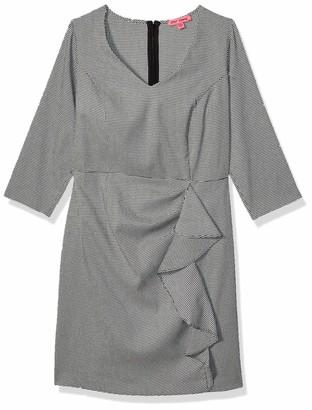 Betsey Johnson Women's Plus Size Menswear Dress with Ruffle