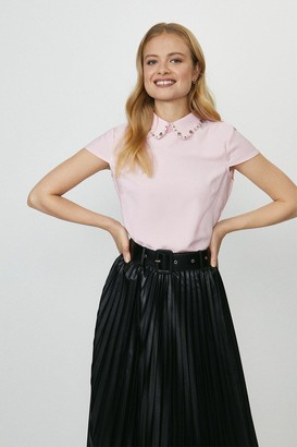 Coast Short Sleeve Jewelled Collar Shell Top