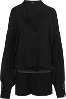 Ann Demeulemeester Oversized Belted Voile Blouse - Black
