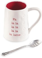 Mud Pie Fa La Latte Ceramic Mug & Spoon
