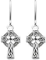 Heritage Womens Sterling Silver Celtic Small Oxidised Cross Drop Earrings 6290HP