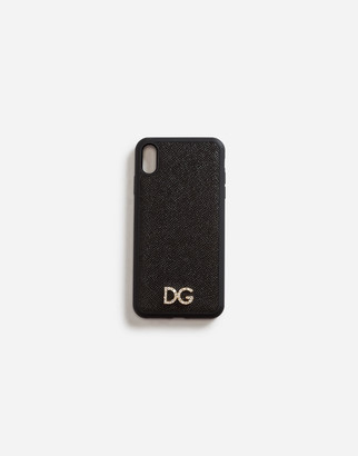 Dolce & Gabbana Iphone Xs Max Cover In Dauphine Calfskin With Crystal Logo