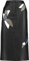 Tibi Appliquéd leather midi skirt