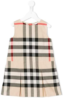 Burberry Kids Pleated Check Washed Cotton A-line Dress