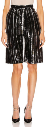 DANIELE CARLOTTA Knee Length Shorts in Black & Silver | FWRD