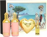 Moschino by for Women 4 Piece Set Includes: 0.13 oz Eau de Toilette + 0.8 oz Shower Gel + 0.8 oz Body Milk + 25g Soap w/dish