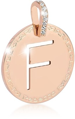 Rebecca Rose Gold-plated Bronze & Zirconia F Charm W/Rhodium-plated Necklace
