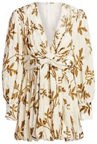 Dodo Bar Or Anatalya Metallic Floral Silk Velvet V-Neck Dress