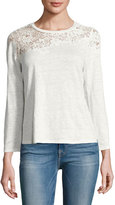 Rebecca Taylor Arella Lace Jersey Long-Sleeve Top, White