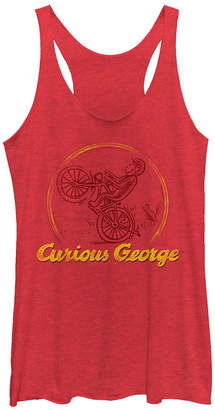 Fifth Sun Curious George Monkey on a Bike Sketch Tri-Blend Racer Back Tank