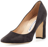 Manolo Blahnik Tuccio Suede 90mm Pump, Black