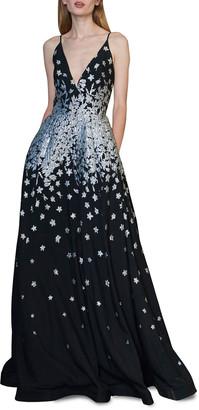 ML Monique Lhuillier Sleeveless Metallic Jacquard A-Line Gown