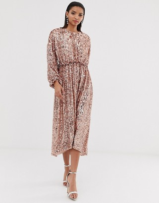 Asos Edition EDITION open back waisted midi dress in sequin-Silver