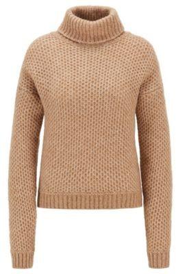 HUGO BOSS Alpaca-blend turtleneck sweater with honeycomb structure