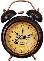 Retro Creative Mute Alarm Clock Student Children Bedroom Bedside Clock (Coffee)