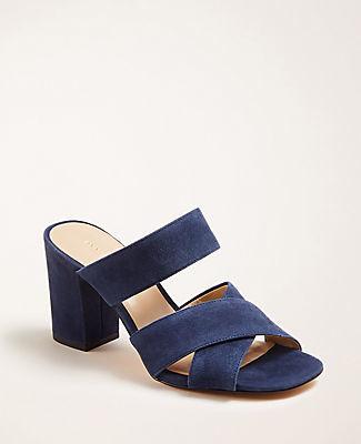 Ann Taylor Bonnie Suede Block Heel Sandals
