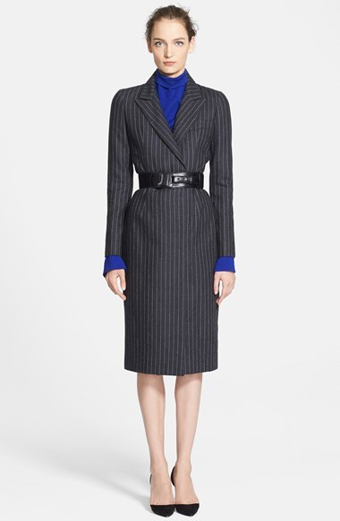 Oscar de la Renta Pinstripe Flannel Dress