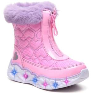 Skechers S Lights Heart Lights Happy Hearted Light-Up Snow Boot - Kids'