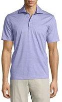 Ermenegildo Zegna 1x1 Knit Polo Shirt, Lavender