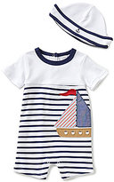 Starting Out Baby Boys Newborn-9 Months Sailboat Striped Bodysuit & Hat Set