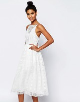 Asos Premium Occasion Midi Dress In Geo Lace