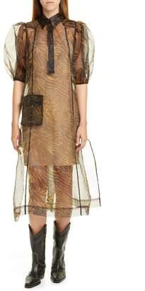 Ganni Tiger Stripe Print Sheer Organza Midi Dress