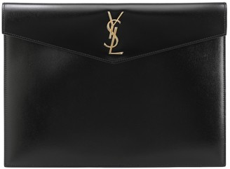 Saint Laurent Uptown Large leather clutch