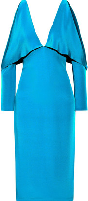 Cushnie Cold-shoulder Layered Silk Dress