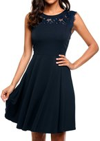 Meaneor Women's A-Line Chiffon Sleeveless Pleated Lace Cocktail Party Dresses XL