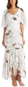 R & M Richards Petite Floral-Print Capelet Gown