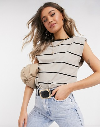 ASOS DESIGN sleeveless t-shirt with shoulder pad in stripe