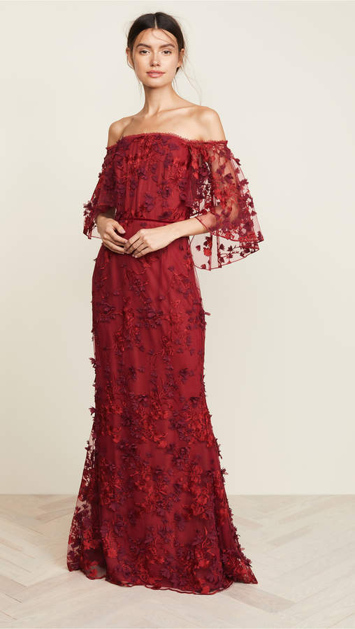 Marchesa OTS Flutter Sleeve Embroidered Gown