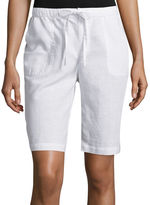 Liz Claiborne Linen-Cotton Shorts - Plus