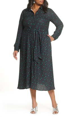Halogen Long Sleeve Midi Shirtdress (Plus Size)
