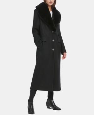 DKNY Petite Faux-Fur-Collar Maxi Coat