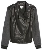BP Women's Faux Leather Varsity Moto Jacket