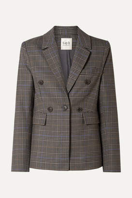 Sea Rowan Double-breasted Checked Woven Blazer - Gray