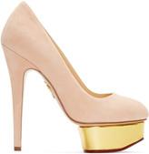 Charlotte Olympia Pink Suede Platform Dolly Heels
