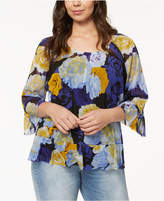 INC International Concepts Plus Size Floral-Print Peasant Top, Created for Macy's