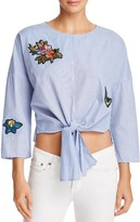 Aqua Patch Tie-Front Cropped Top - 100% Exclusive