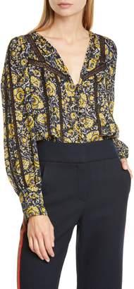 Veronica Beard Tarry Long Sleeve Silk Blouse