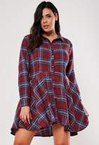 Missguided Plus Size Burgundy Check Skater Dress