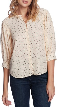 1 STATE Scatter Dot Button Front Blouse